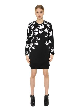SWALLOW PRINTED JERSEY SWEATSHIRT DRESS