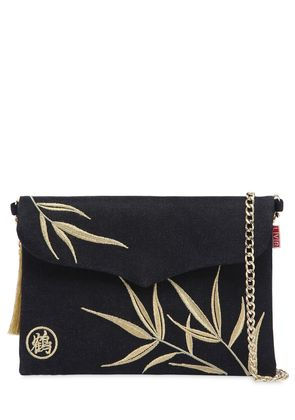 LVR EDITIONS EMBROIDERED DENIM POUCH