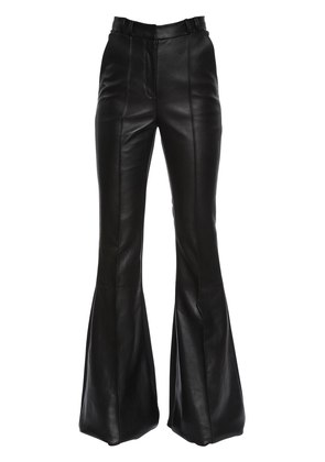 FLARED LEATHER & STRETCH CADY PANTS