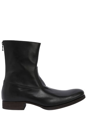 BACK ZIP LEATHER BOOTS