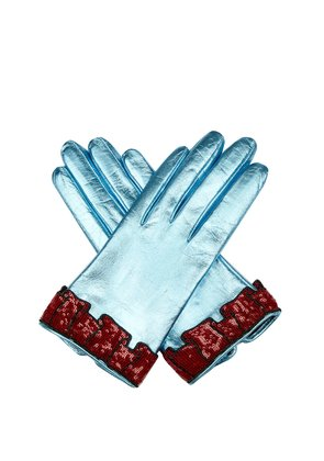 Sequinned-cuff leather gloves