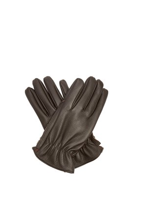 Grained-leather gloves