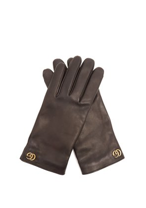 GG-plaque leather gloves