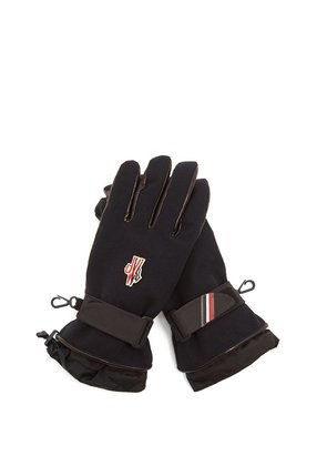 Logo-embroidered padded twill gloves