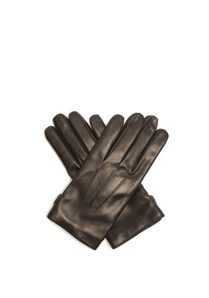 Topstitched soft-leather gloves