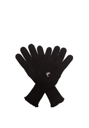 Embroidered wool-knit gloves