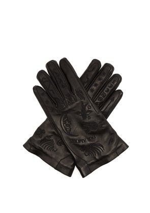 Palmistry embroidered leather gloves