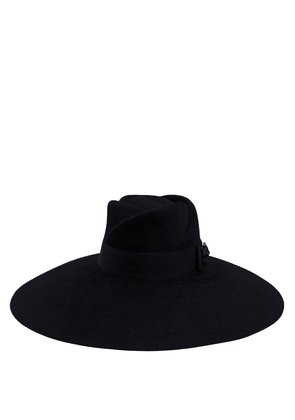 Fur-felt wide-brim trilby hat