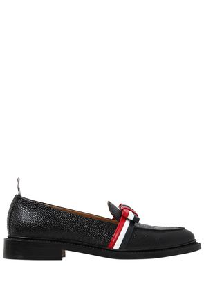 20MM STRIPED BOW PEBBLE LEATHER LOAFERS