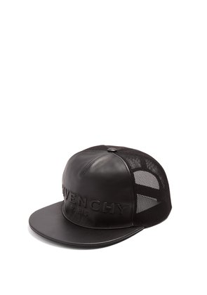 Logo-embossed leather and mesh cap