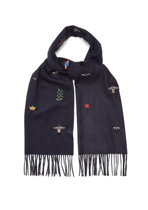 Embroidered print scarf