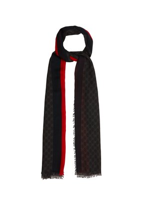 GG Supreme-print scarf with stripe