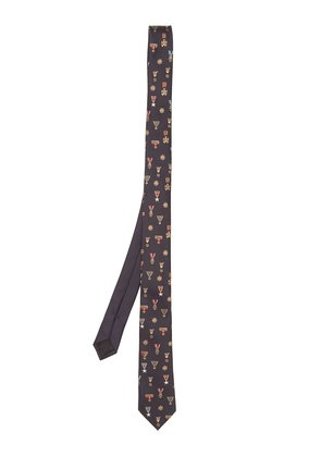 Medal-embroidered silk tie