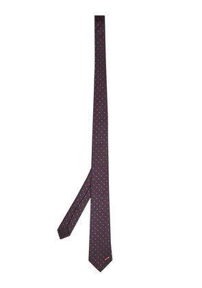 Polka dot-embroidered silk tie