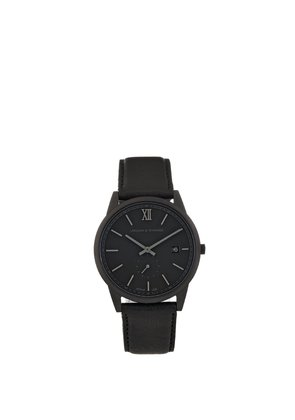 Saxon stainless-steel and leather watch