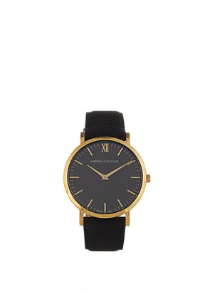 Lugano gold-plated and leather watch