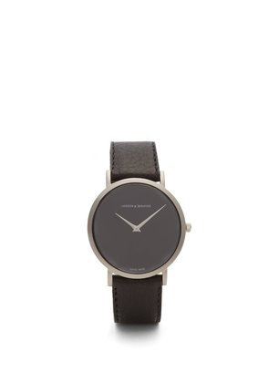 Lugano stainless-steel and leather watch