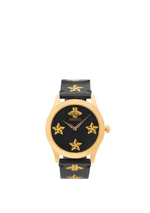 G-Timeless bee and star-print watch