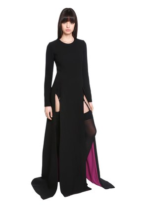 LACE-UP WOOL CREPE DRESS W/ FRONT SLITS
