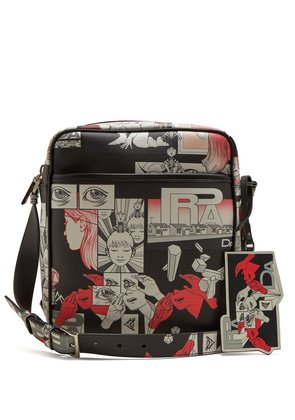 Comic-strip print leather messenger bag