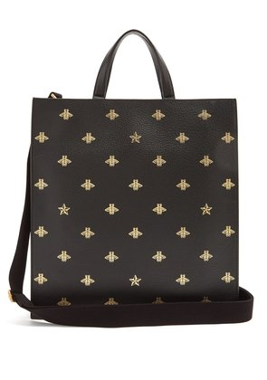 Bee-print leather tote