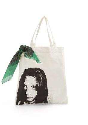 Face-print canvas tote bag