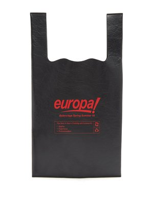 Europa-print leather shopper tote