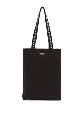 Chevron-handle canvas tote