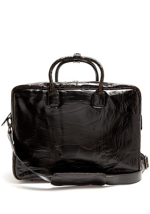Benny cracked-leather briefcase
