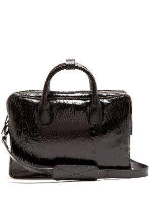Benny mini cracked-leather briefcase