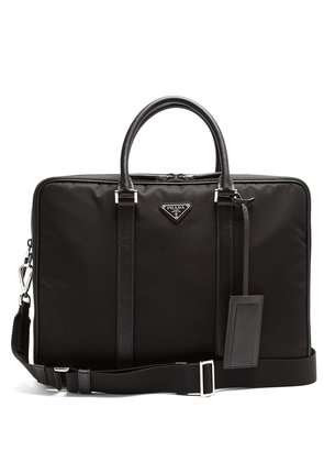 Leather-trimmed double-zip nylon briefcase