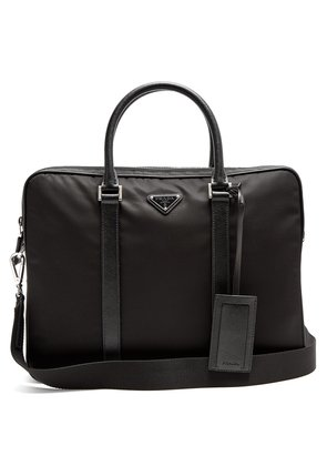 Leather-trimmed nylon briefcase