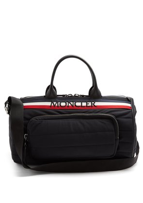 Striped logo-embroidered quilted-nylon holdall