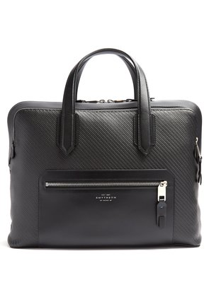 Greenwich woven-leather briefcase