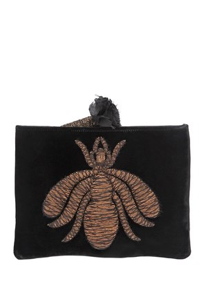 SPIDER EMBROIDERED VELVET POUCH