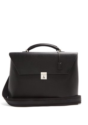 Pebbled-leather briefcase