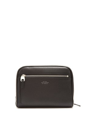 Burlington grained-leather washbag