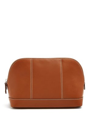 Contrast stitch leather wash bag