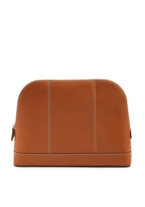 Top-stitch detail leather washbag