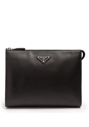 Logo-plaque saffiano-leather washbag