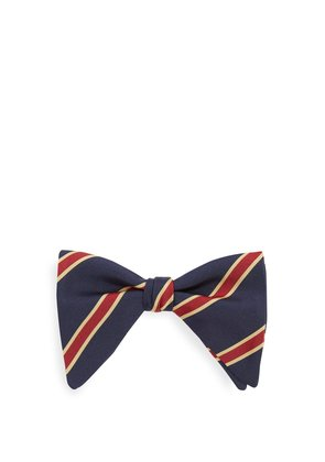 Striped silk and cotton-blend bow tie