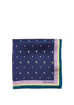 Rabbit and Heart-print silk pocket square