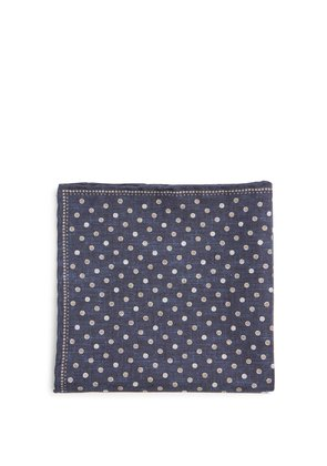 Polka dot-print silk-blend pocket square