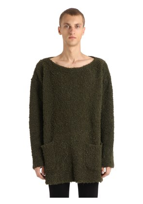 CURLY BOUCLE MOHAIR BLEND SWEATER