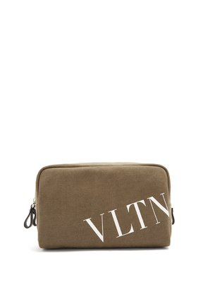 Logo-print canvas wash bag