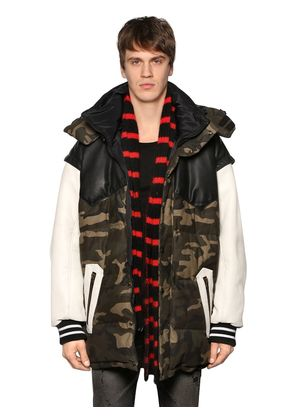 OVERSIZE CANVAS & LEATHER DOWN JACKET