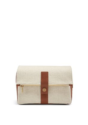 Leather-trimmed canvas washbag