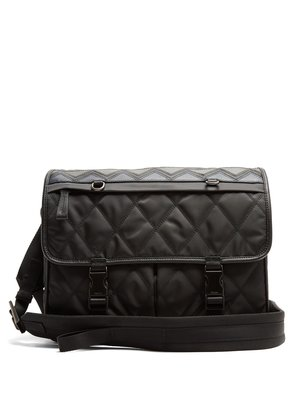 Leather-trimmed quilted cross-body bag