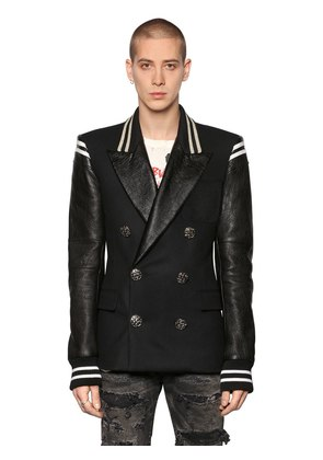 DOUBLE BREASTED WOOL & LEATHER JACKET