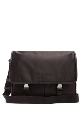 Leather-trimmed nylon cross-body bag